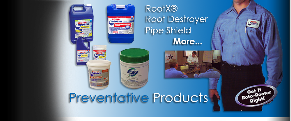 RootX, Root Destroyer, Pipe Shield products for preventative maintenance of sewer & drain lines